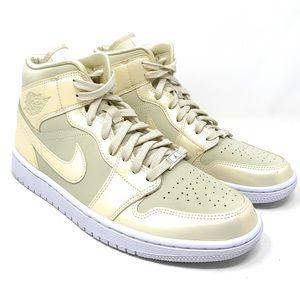 Nike Air Jordan 1 Mid SE Shoes White /Lemon Yellow